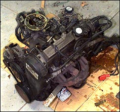 the worn out 3-cylinder gasoline engine